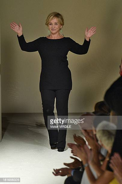 Designer Alberta Ferretti walks the runway during the Alberta Ferretti show as a part of Milan Fashion Week Womenswear Spring/Summer 2014 on...