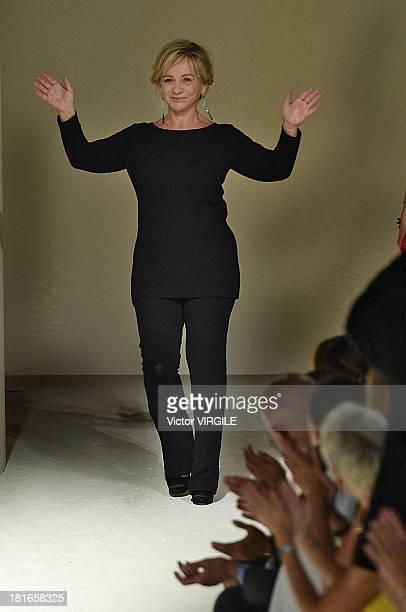 Designer Alberta Ferretti walks the runway during the Alberta Ferretti show as a part of Milan Fashion Week Womenswear Spring/Summer 2014 on...