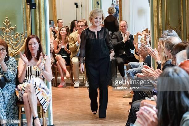Designer Alberta Ferretti walks the runway during the Alberta Ferretti Fall/Winter 20162017 show as part of Paris Fashion Week on July 3 2016 in...