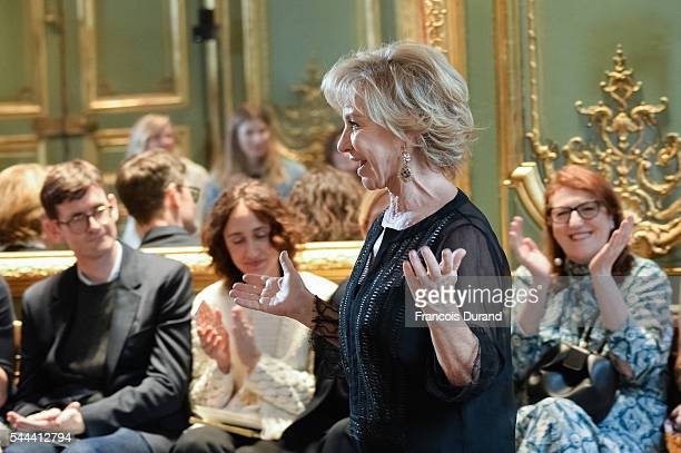Designer Alberta Ferretti walks the runway during the Alberta Ferretti Fall/Winter 20162017 show as part of Paris Fashion Week on July 3 2016 in...