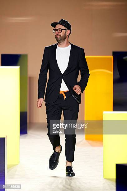 Designer Alberto Villagrasa walks the runway at the Antonio Miro designed by Alberto Villagrasa show during the Barcelona 080 Fashion Week...