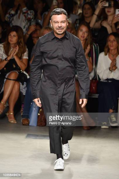 A model walks the runway at the Alberto Zambelli show during Milan Fashion Week Spring/Summer 2019 on September 19 2018 in Milan Italy