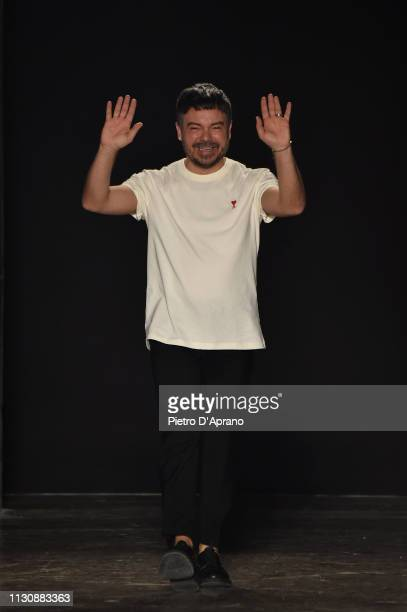 Designer Alberto Zambelli acknowledges the applause of the audience after his show at Milan Fashion Week Autumn/Winter 2019/20 on February 20 2019 in...