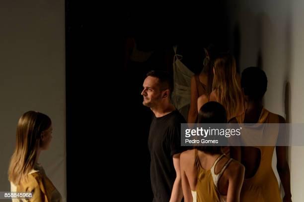 Designer Aleksandar Protic at the end of his show during Lisboa Fashion Week 'ModaLisboa' 2017