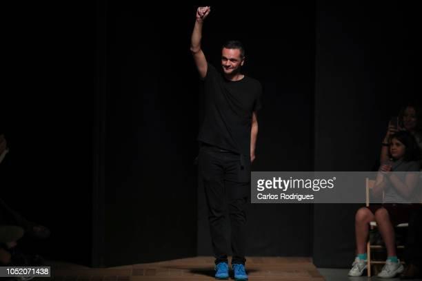 Designer Aleksandar Protic walk the catwalk during Aleksandar Protic runway show for Day 3 Lisboa Fashion Week 'ModaLisboa' 2018 on October 13 2018...