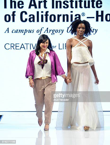 Designer Alena Sablan and model walk the runway at the Art Hearts Fashion LAFW Fall/Winter 2016 Day 5 at the Taglyan Cultural Complex on March 17...