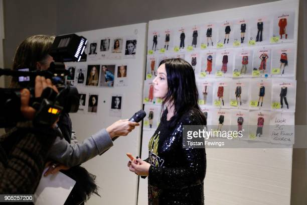 Designer Alessandra Marchi is seen backstage ahead of the Aniye By show during Milan Men's Fashion Week Fall/Winter 2018/19 on January 15 2018 in...