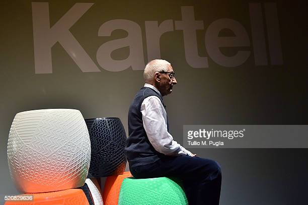 Designer Alessandro Mendini poses at Kartell Talking Minds during Milan Design Week 2016 on April 13 2016 in Milan Italy