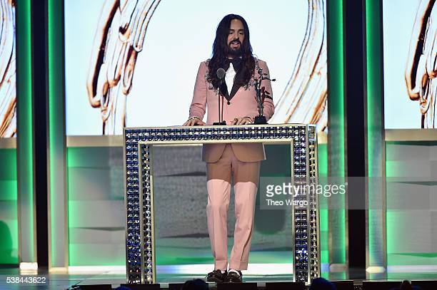 Designer Alessandro Michele accepts The International Award at the 2016 CFDA Fashion Awards at the Hammerstein Ballroom on June 6 2016 in New York...