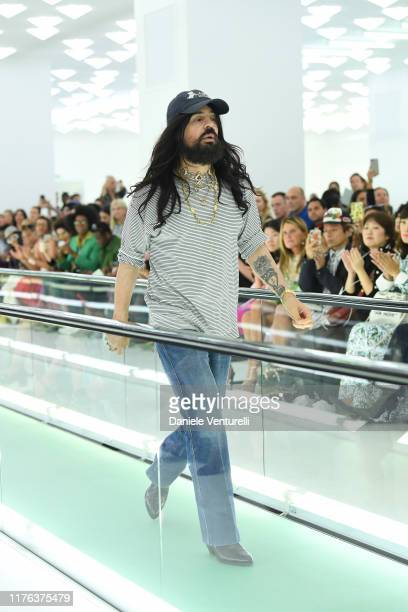 Designer Alessandro Michele acknowledges the applause of the audience at the Gucci Spring/Summer 2020 fashion show during Milan Fashion Week on...