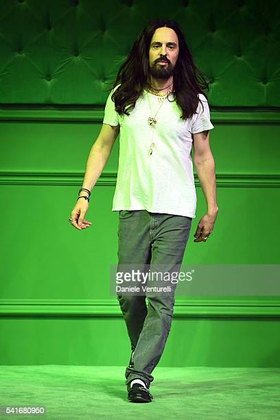 Designer Alessandro Michele aknowledge the applause of the public after the Gucci show during Milan Men's Fashion Week SS17 on June 20 2016 in Milan...