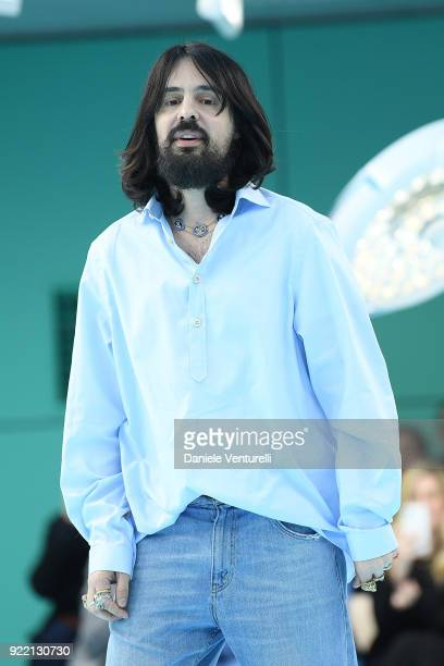 Designer Alessandro Michele aknowledge the applause of the public after the the Gucci show during Milan Fashion Week Fall/Winter 2018/19 on February...