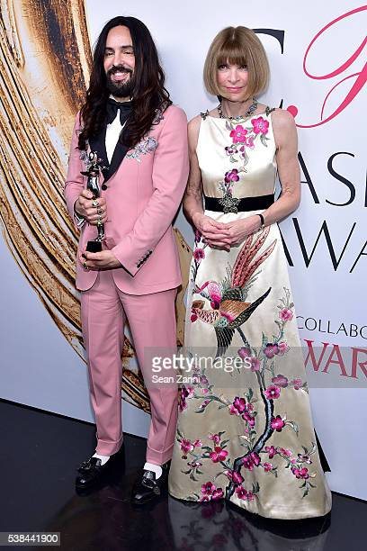 Designer Alessandro Michele and editorinchief of American Vogue Anna Wintour attend the 2016 CFDA Fashion Awards at the Hammerstein Ballroom on June...