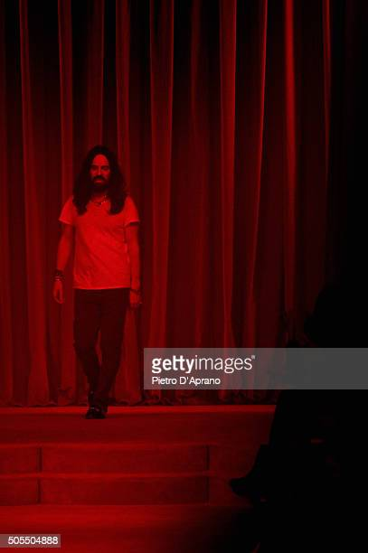 Designer Alessandro Michele walks the runway after the Gucci show during Milan Men's Fashion Week Fall/Winter 2016/17 on January 18 2016 in Milan...