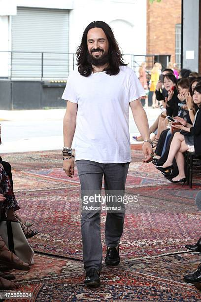 Designer Alessandro Michele walks the runway at Gucci Cruise 2016 at Dia Art Foundation on June 4 2015 in New York City