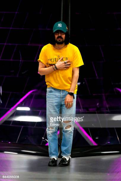 Designer Alessandro Michele walks the runway at the Gucci designed by Alessandro Michele show during Milan Fashion Week Fall/Winter 2017/18 on...