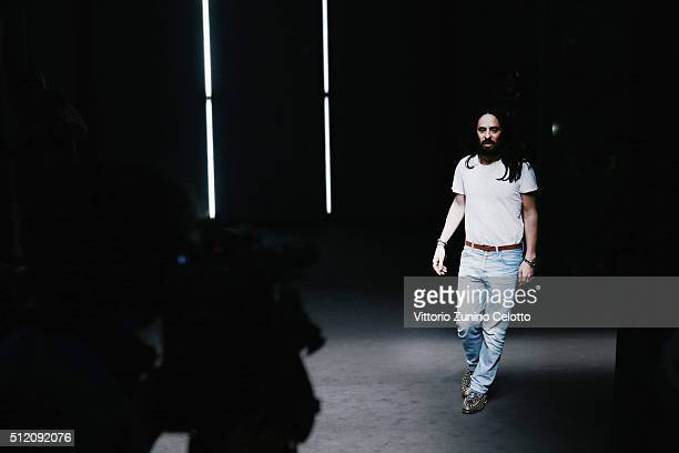 Designer Alessandro Michele walks the runway at the Gucci show during Milan Fashion Week Fall/Winter 2016/17 on February 24 2016 in Milan Italy