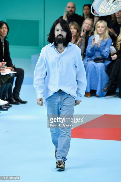 Designer Alessandro Michele walks the runway at the Gucci show during Milan Fashion Week Fall/Winter 2018/19 on February 21 2018 in Milan Italy