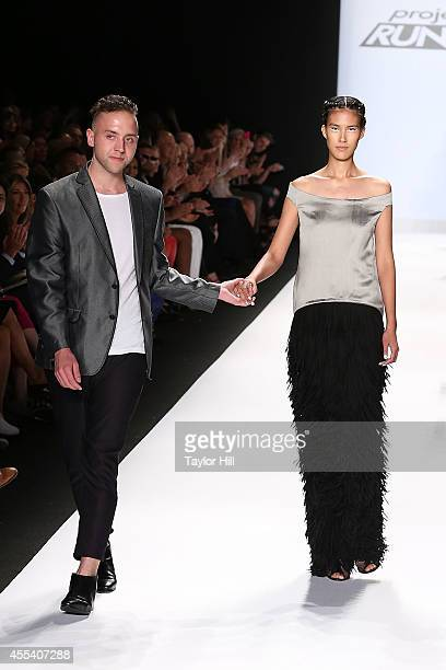 Designer Alexander Knox presents his collection during the Project Runway Season 13 Finale Show at MercedesBenz Fashion Week Spring 2015 at The...