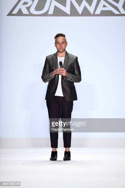 Designer Alexander Knox walks the runway at the Project Runway fashion show during MercedesBenz Fashion Week Spring 2015 at The Theatre at Lincoln...