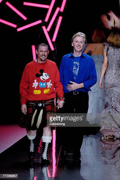 Designer Alexander McQueen walks the catwalk at the Alexander McQueen collection show spring summer 2008 part of Paris Fashion Week at POPB on...