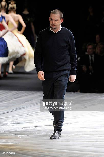 Designer Alexander McQueen walks the runway during the Alexander McQueen Fall/Winter 2008/2009 collection during Paris Fashion Week on the 29th of...