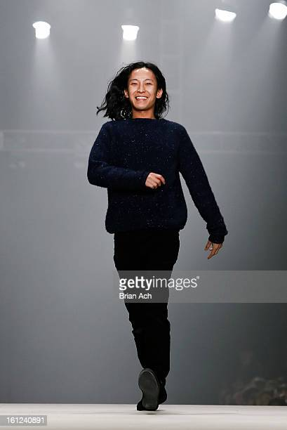 Designer Alexander Wang appears on the runway at the Alexander Wang fall 2013 fashion show during MercedesBenz Fashion Week at The Cunard Building on...