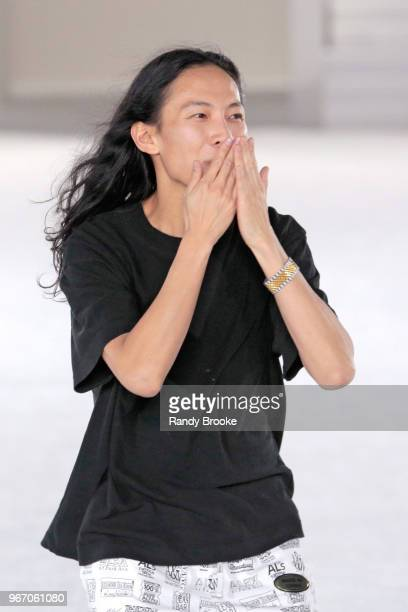 Designer Alexander Wang is about to blow a kiss after his Alexander Wang Resort Runway show June 2018 New York Fashion Week on June 3 2018 in New...