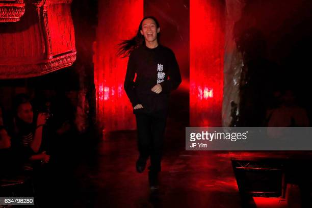 Designer Alexander Wang poses on the runway at the Alexander Wang February 2017 fashion show during New York Fashion Week on February 11 2017 in New...