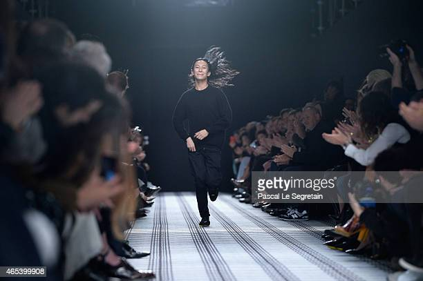 Designer Alexander Wang walks the runway after the Balenciaga show as part of the Paris Fashion Week Womenswear Fall/Winter 2015/2016 on March 6 2015...