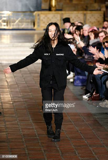 Designer Alexander Wang walks the runway at Alexander Wang Fall 2016 during New York Fashion Week at St Bartholomew's Church on February 13 2016 in...