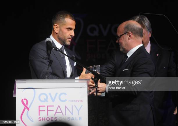 Designer Alexandre Birman Robert Burke and President CEO of FFANY Ron Fromm speak onstagea at the Annual QVC presents 'FFANY Shoes On Sale' Gala at...