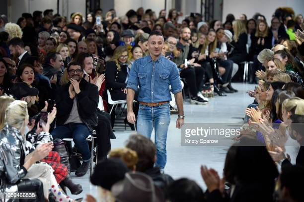 Designer Alexandre Vauthier acknowledges the audience during the Alexandre Vauthier Spring Summer 2019 show as part of Paris Fashion Week on January...