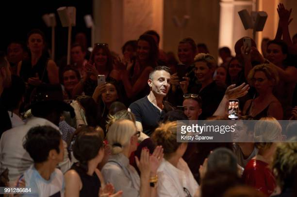Designer Alexandre Vauthier acknowledges the audience during the Alexandre Vauthier Haute Couture Fall/Winter 20182019 show as part of Haute Couture...