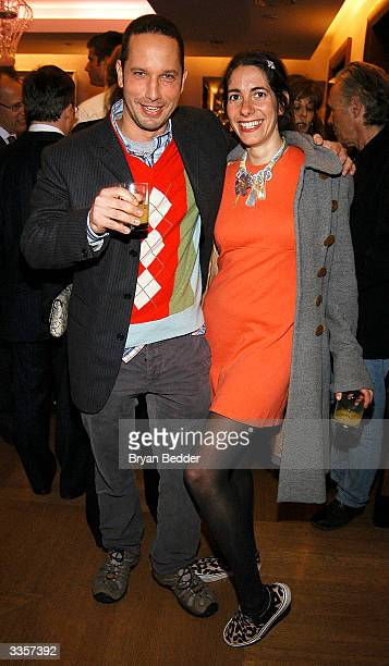 "Designer Alexis Bittar and Oberon Sinclair-carin attend the Plum Sykes ""Bergdorf Blondes"" book launch party April 13, 2004 in New York, New York."