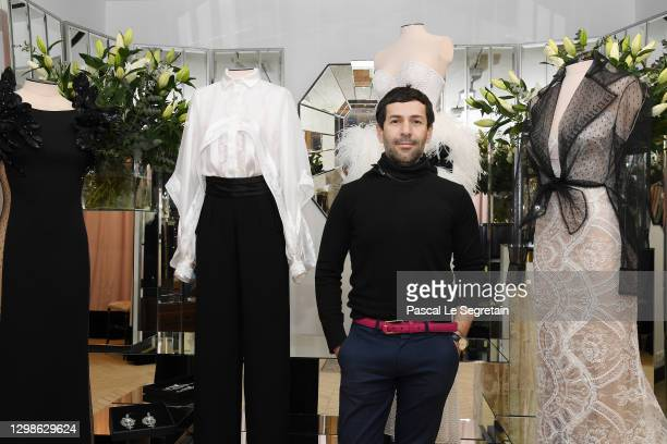 Designer Alexis Mabille poses during the Alexis Mabille Spring/Summer 2021 presentation as part of Paris Fashion Week on January 26, 2021 in Paris,...
