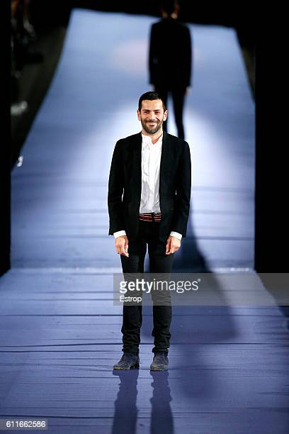 Designer Alexis Mabille walks the runway during the Alexis Mabille show as part of the Paris Fashion Week Womenswear Spring/Summer 2017 on September...