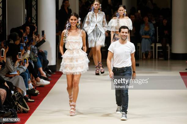 Designer Alexis Mabille walks the runway during the Alexis Mabille show as part of Paris Fashion Week Womenswear Spring/Summer 2018 on September 29...