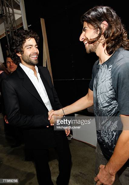 Designer Ali Alborzi and actor Adrian Grenier backstage at the Evidence Of Evolution Spring 2008 fashion show during MercedesBenz Fashion Week held...