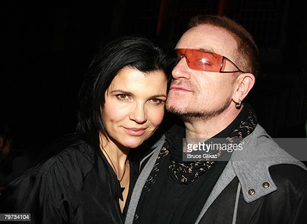 Designer Ali Hewson and husband Singer Bono of U2 poses at The EDUN Fall/Winter 2008 Nocturne Collection Presentation at The Desmond Tutu Center on...
