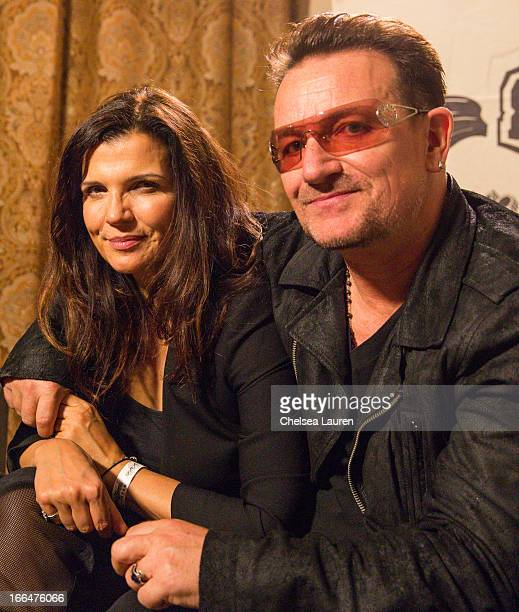 Designer Ali Hewson and singer Bono attend the DIESEL + EDUN Studio Africa Event At Indio Valley With Rolling Stone Rock Room at Tally Horse Ranch on...