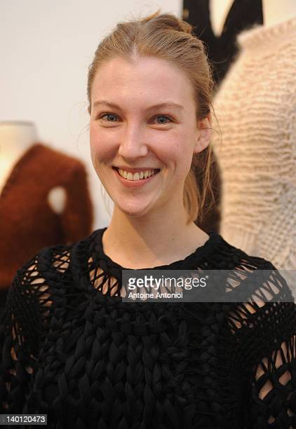 Designer Alice Lemoine poses at the 'Le Moine Tricote' ReadyToWear Fall/Winter 2012 Presentation as part of Paris Fashion Week on February 28 2012 in...
