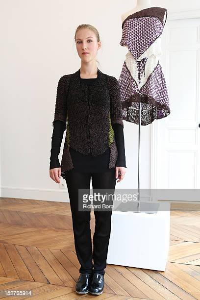 Designer Alice Lemoine poses during the Le Moine Tricote Spring / Summer 2013 show as part of Paris Fashion Week on September 25 2012 in Paris France