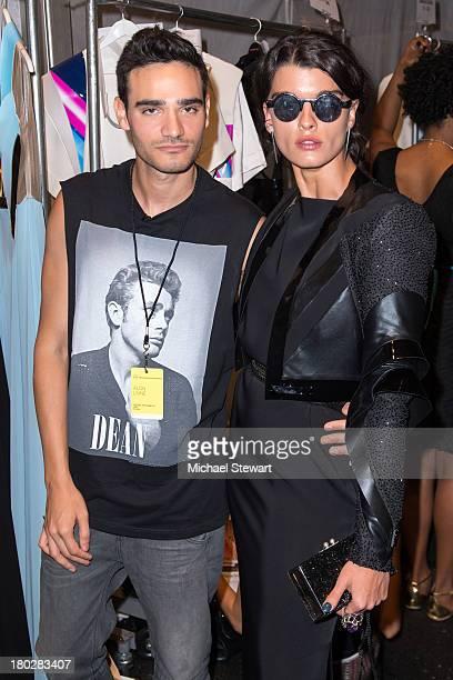 Designer Alon Livne and model Crystal Renn attend the Alon Livne show during Spring 2014 MercedesBenz Fashion Week at The Studio at Lincoln Center on...