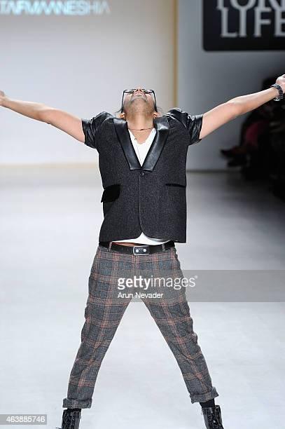 Designer Altaf Maaneshia walks the runway at the New York Life fashion show during Mercedes-Benz Fashion Week Fall 2015 at The Salon at Lincoln...