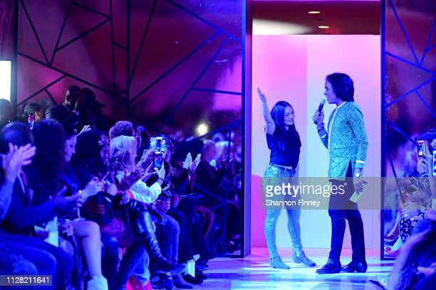 Designer Amanda Casarez takes a bow at the District of Fashion Fall/Winter 2019 Runway Show on February 07 2019 at the National Museum of Women in...