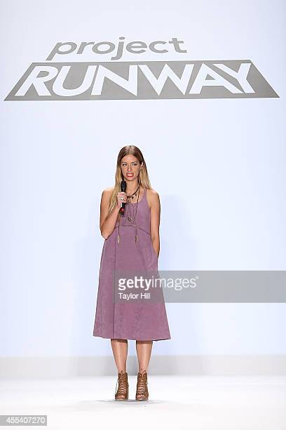 Designer Amanda Valentine presents her collection during the Project Runway Season 13 Finale Show at Mercedes-Benz Fashion Week Spring 2015 at The...