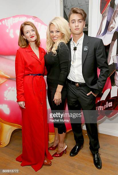 Designer Amelie Pichard actress Pamela Anderson and son Brandon Thomas Lee attend the Amelie Pichard/Pamela Anderson preview at Opening Ceremony on...