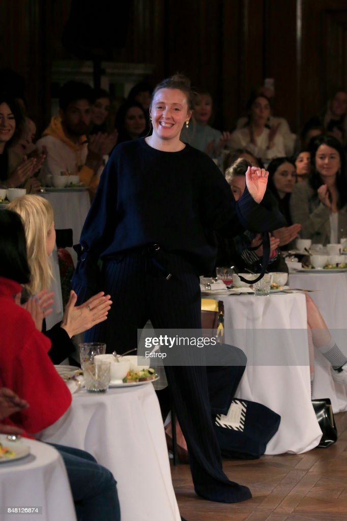 Designer Amy Powney at the Mother Of Pearl show during London Fashion Week September 2017 on September 16, 2017 in London, England.