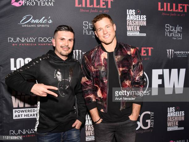 Designer and Art Hearts Fashion president Erik Rosete and Colton Underwood at Los Angeles Fashion Week FW/19 Powered by Art Hearts Fashion at The...